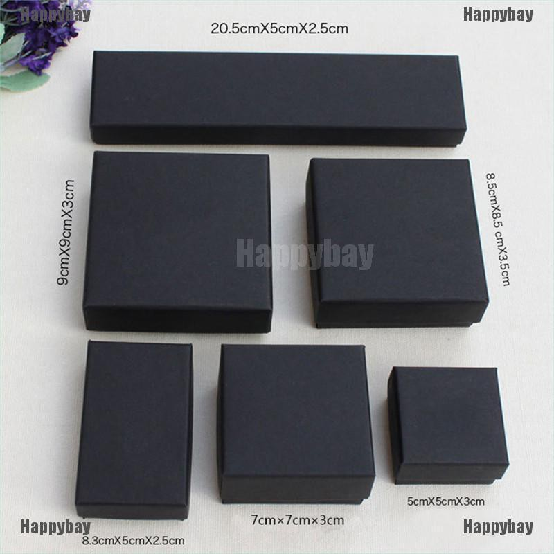 Happybay Black Paper Package Case Ring Necklace Earrings Bracelet Jewelry Gift Box Decor