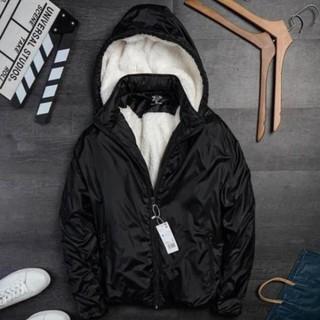 Áo khoác nam lót lông cừu vải dù gió cao cấp chống nước có mũ tháo rời mặc mùa đông siêu ấm chống gió giữ nhiệt