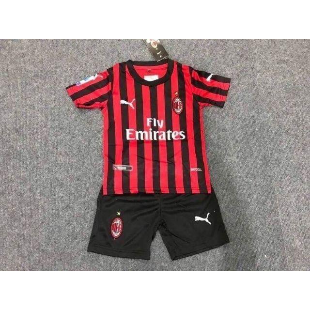 ชุดบอลเด็ก ชุดฟุตบอล ทีมเอซีมิลาน ACMilan สีแดงดำ แขนสั้น ชุดบอล เสื้อบอล