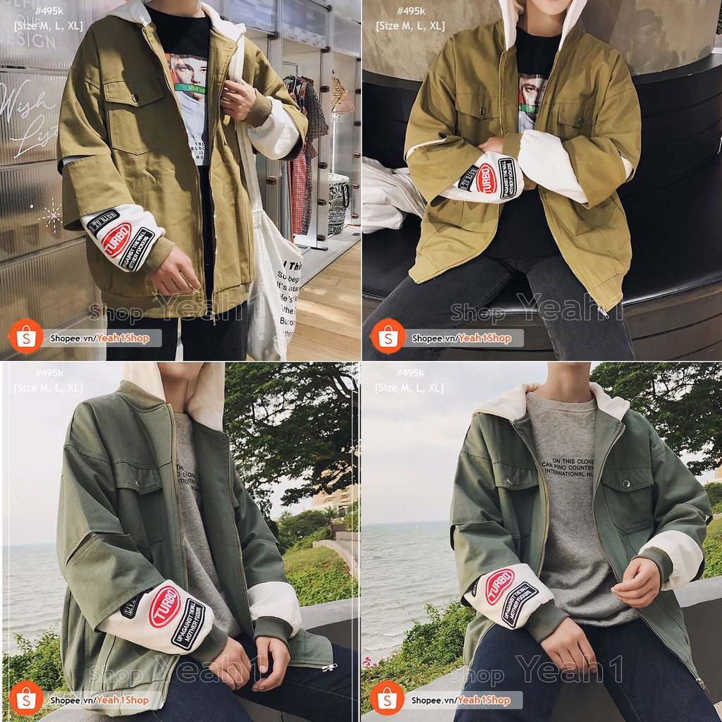 [Yeah1Shop]- Áo Khoác kaki có nón tay logo (M,L,XL)