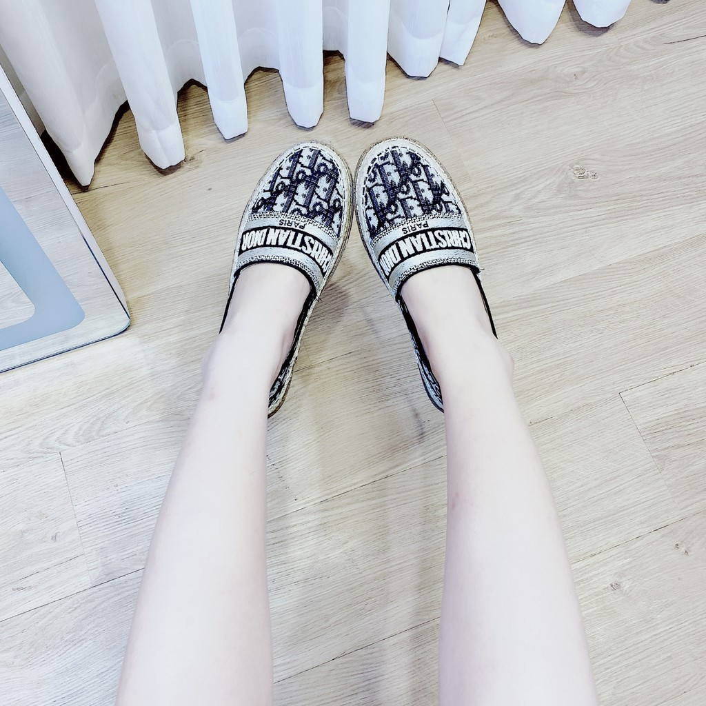 Giày lười nữ vải dệt thêu D.O đi êm chân siêu hot