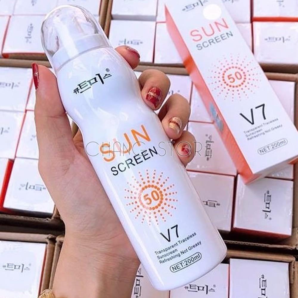 Xịt Chống Nắng, Xịt Nâng Tone Che Khuyết Điểm Sunscreen V7 Magic Flower 238ml Hàn Quốc