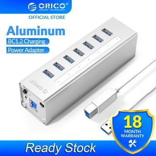 HUB Orico A3H7-V2 Hỗ Trợ 7 Cổng USB 3.0 BC1.2 Bộ Sạc USB 12V Cho Máy Tính Để Bàn OTG Macbook