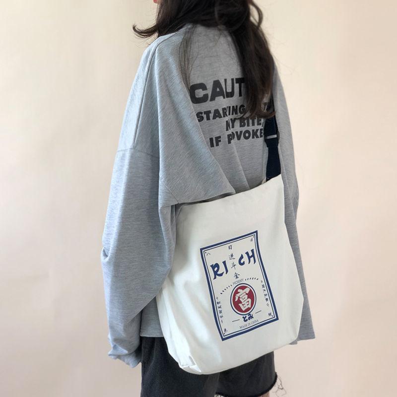 Túi Vải Canvas Cỡ Lớn Thiết Kế Đơn Giản Tiện Dụng Phong Cách Hàn Quốc Trẻ Trung 2021