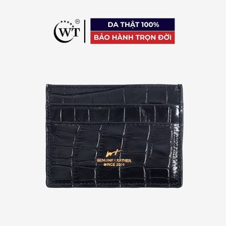Ví Đựng Thẻ Da Bò Cao Cấp Màu Đen WT Leather 0949.2 thumbnail