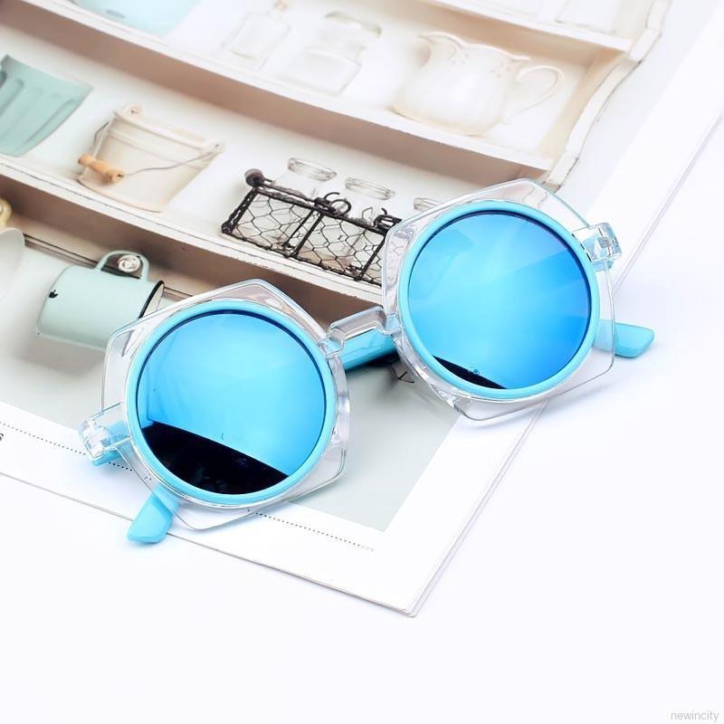 Kính râm gọng tròn chống tia UV kiểu dáng Hàn Quốc dành cho bé trai và bé gái