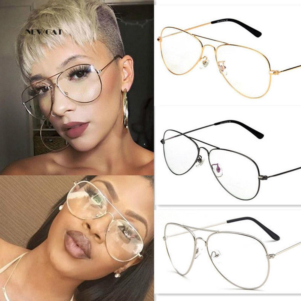 ღNK_Unisex Retro Big Round Metal Frame Clear Lens Glasses Eyeglasses Spectacles