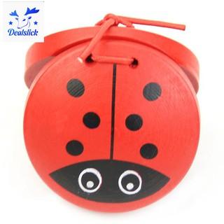 🌸1pc Kid Children Cartoon Wooden Castanet Toy Musical Percussion Instrument