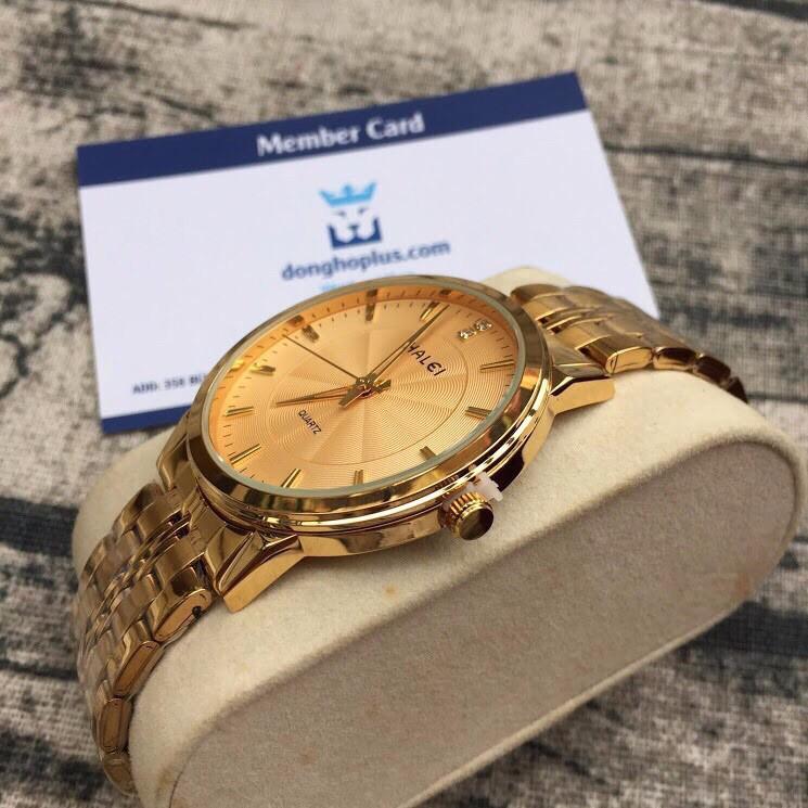 đồng hồ nam đẹp halei mặt vàng HLL05 chống nước chống xước,tặng kèm vòng tì hưu
