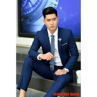 Big Sale Bộ Vest Xanh Coban Cao Cấp 1 Cúc Combo Bộ Vest + Ghile