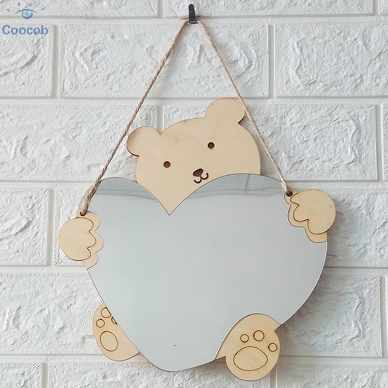 Wooden Mirror Frame Decoration Hanging Accessories 24x25cm Creative Acrylic Children Cartoon Wall High Quality