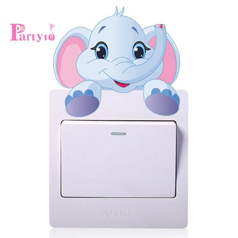 Sticker dán công tắc hình con voi dễ thương dùng trong trang trí phòng cho trẻ nhỏ