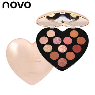 Bảng Phấn Mắt NOVO 12 Màu Lì Và Nhũ Kim Tuyến