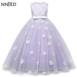 NNJXD Đầm xòe công chúa phối họa tiết hoa dễ thương dành cho bé gái