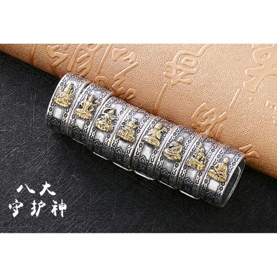 Nhẫn titanium 8 Vị Phật Độ Mạng Mạ Vàng cho 12 con Giáp khắc Bát Nhã Tâm Kinh và Lục Đại Thần Chú từ Tây Tạng
