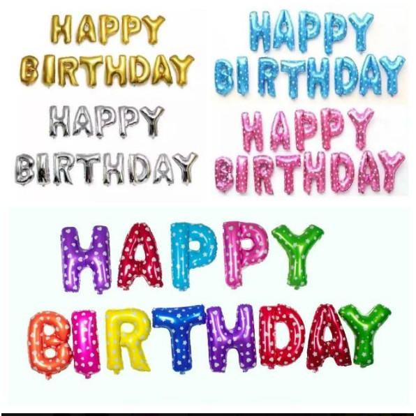 bong bóng chữ happy birthday chữ nhôm cao 40cm trang trí sinh nhật