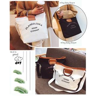 Túi tote- túi vải Ulzzang phong cách Hàn Quốc vừa xách vừa đeo chéo 2 màu sang chảnh (hàng có sẵn)    ❣❣