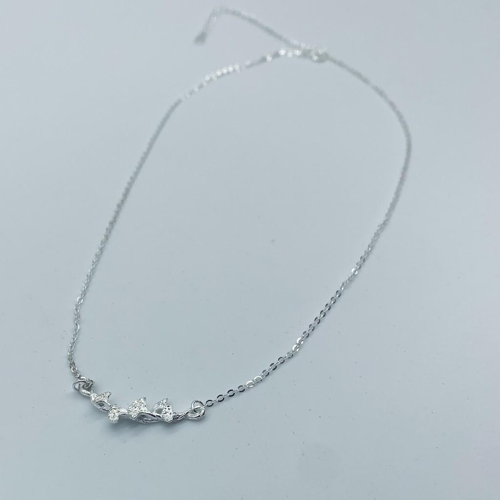 Dây chuyền nữ bạc hình rẻ quạt đính đá cá tính DC0063