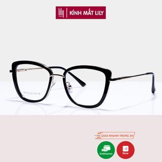 Gọng kính cận nữ Lilyeyewear mắt vuông bo tròn chất liệu kim loại chắc chắn kiểu dáng thời trang 87030