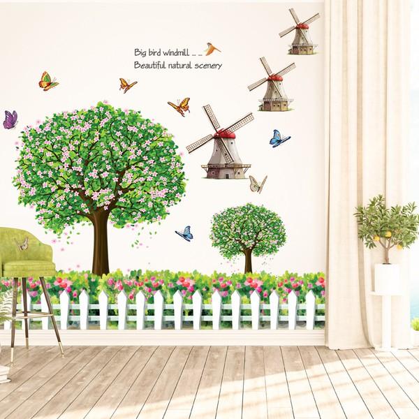 decal dán tường bộ ghép cây xanh và chân tường cối xay gió - 9936650 , 144906717 , 322_144906717 , 75000 , decal-dan-tuong-bo-ghep-cay-xanh-va-chan-tuong-coi-xay-gio-322_144906717 , shopee.vn , decal dán tường bộ ghép cây xanh và chân tường cối xay gió