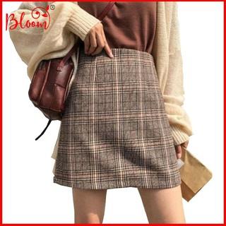 Chân váy lưng cao hoạ tiết caro thời trang cho nữ style Hàn Quốc BLOOMFASHION Chân váy nữ chữ A caro CV04
