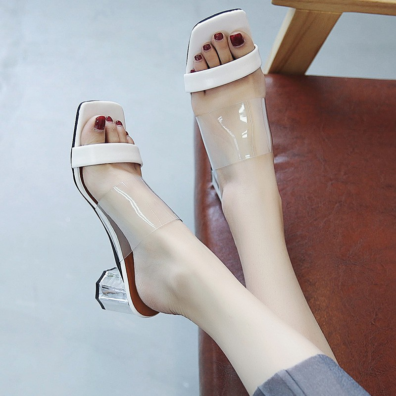 Slippers for women wearing new transparent thick heels in su