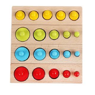 Bộ 4 thanh Núm trụ Montessori, đồ chơi Gỗ cảm quan nhiều màu sắc