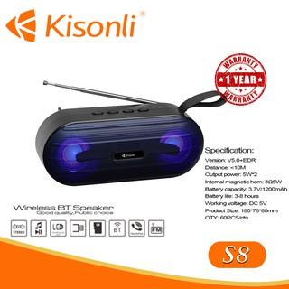 [BẢO HÀNH 12 THÁNG] _ Loa Kisonli Bluetooth S8 --- Thiết kế đẹp mắt, âm thanh chuẩn.