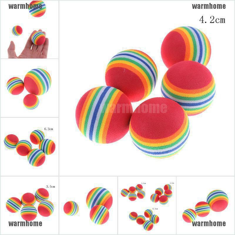 warmhome New 5PCS Rainbow Color EVA Material Ball 3.5cm Kid Funny Toy Foam Sponge Balls thro