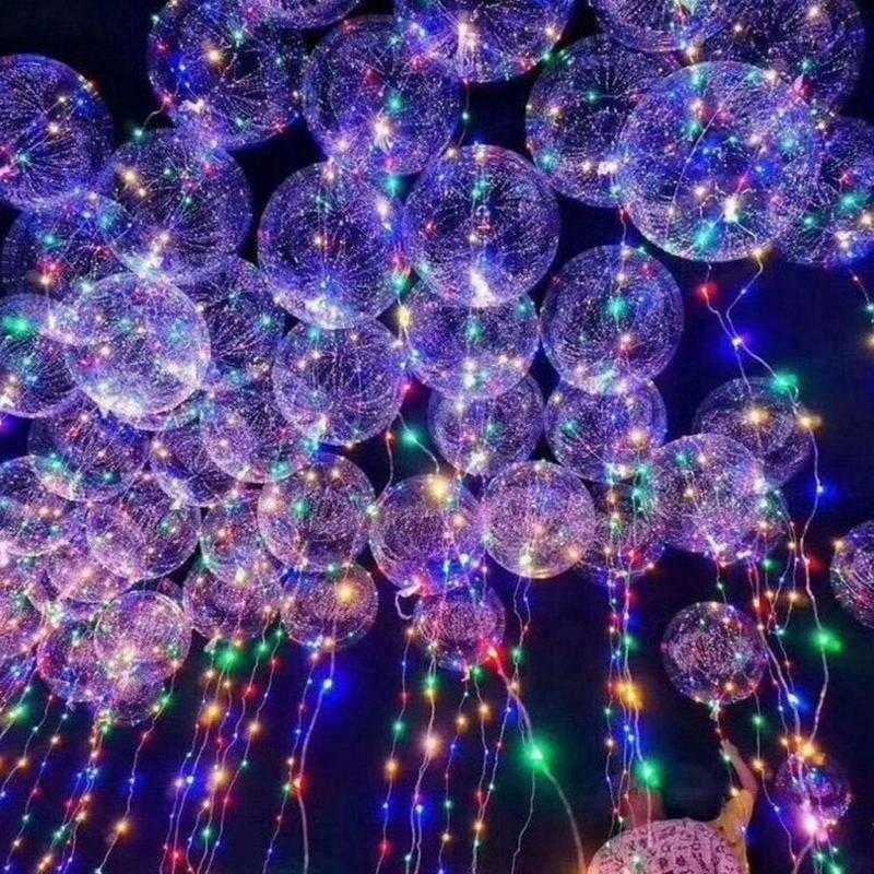 Bong bóng trong suốt gắn đèn LED và dây trang trí tiệc