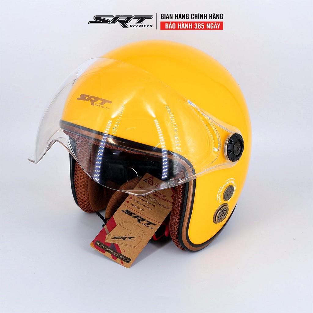 Mũ bảo hiểm 3 4 kính liền SRT viền đồng - Vàng bóng
