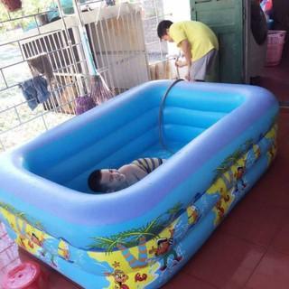 Bể Bơi Hồ Bơi 3 Tầng Cho Bé Tặng Kèm Bơm Điện Kích Thước 2M1 [Rẻ 24/7 TT]