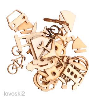 24pcs Cut MDF Wood Vehicle Slices Wood Craft DIY Scrapbooking Embellishments