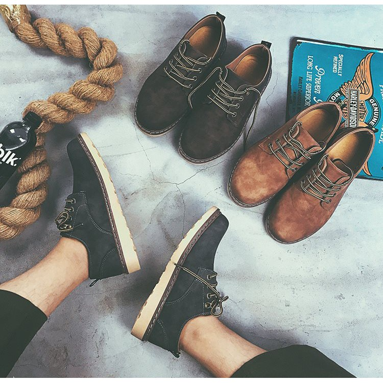 Giày Da Lộn Đế Bằng Phong Cách Anh Quốc GD36