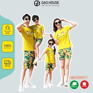 Áo gia đình Gạo House cotton 4 chiều màu vàng Happy Day đi biển, du lịch, dã ngoại thumbnail