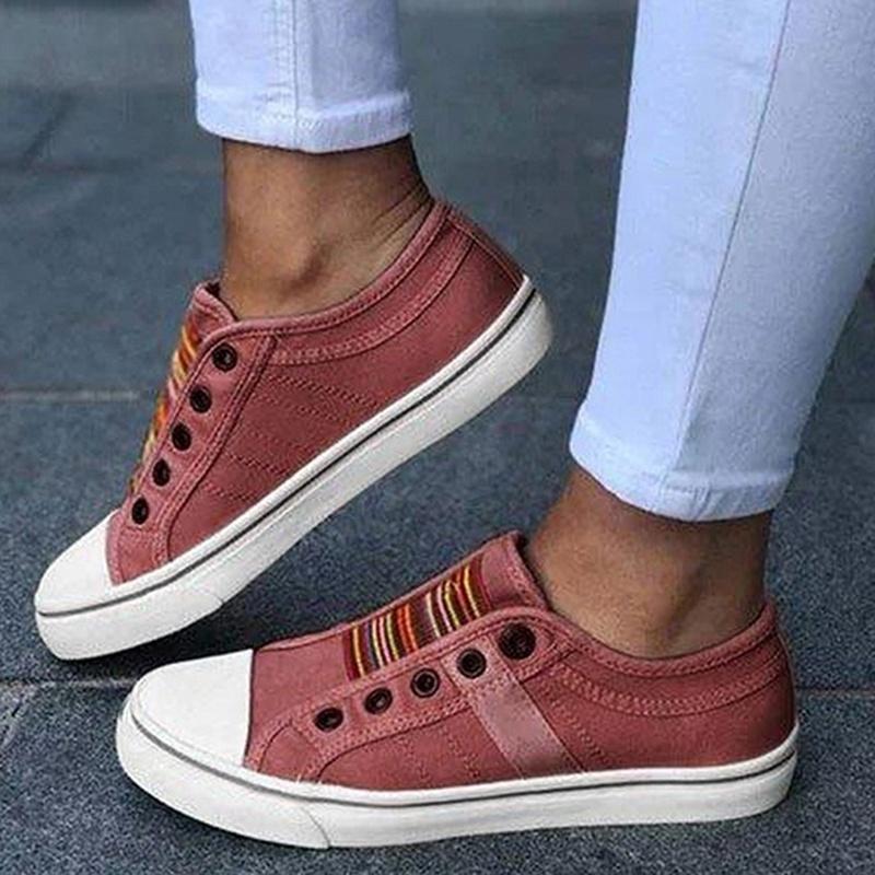 Giày Thể Thao Canvas Đế Bằng Màu Trơn Thoải Mái Thời Trang Cho Nữ