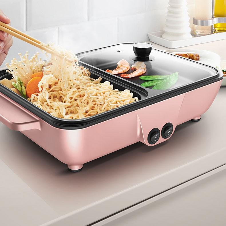 Bếp nướng lẩu 2 in 1 Mini Hàn Quốc - Bếp Điện Đa Năng Cofy -Nồi Đôi Mini Nướng và Lẩu Cofy 2 trong 1