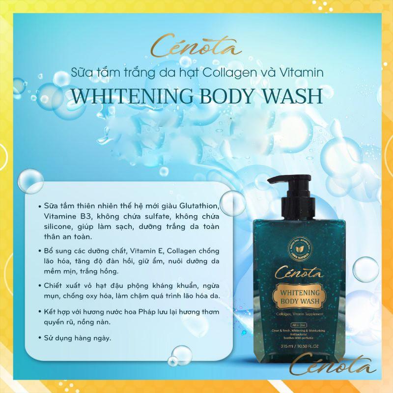Sữa tắm trắng da hạt Collagen và Vitamin Whitening Body Wash, sữa tắm dưỡng ẩm Mã C01 Kagawa