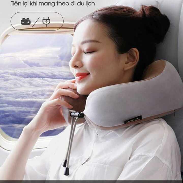 Gối Massage Cổ vai gáy hồng ngoại U-SHAPED Chính Hãng – Gối Mát Xa 3 chế độ cao cấp, tiện lợi mang theo