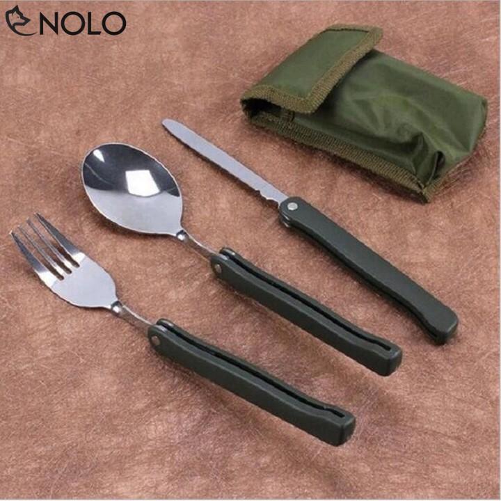 Bộ Muỗng Nĩa Du Lịch Dã Ngoại Fork Knife Quân Đội