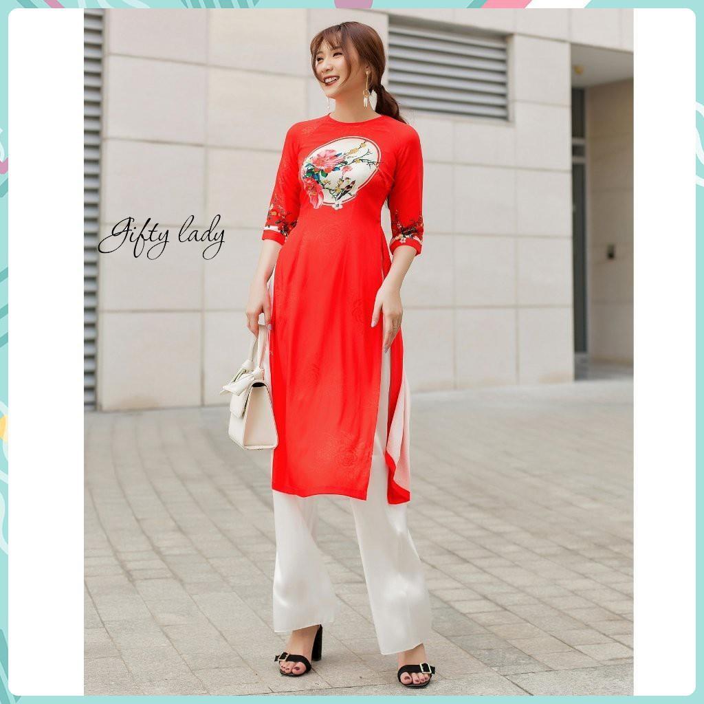 Áo Dài Cách Tân Nữ Màu Đỏ - Áo Dài Tết Đẹp Cổ Tròn Tay Lỡ Vải Gấm Giãn Màu Trơn In Hoạ Tiết Có Nhiều Size, Giftylady