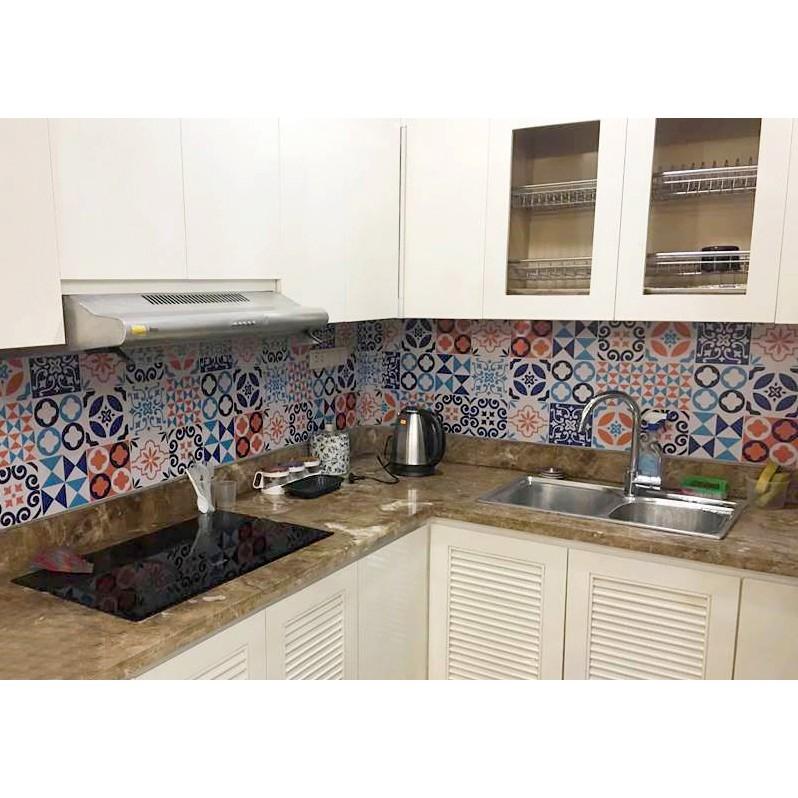 [MUA 5 TẶNG 1] Decal dán bếp Decal dán tường Decal chống nước dán kính,nhà tắm - Decal gạch bông loại 1-Blue&yellow 0003