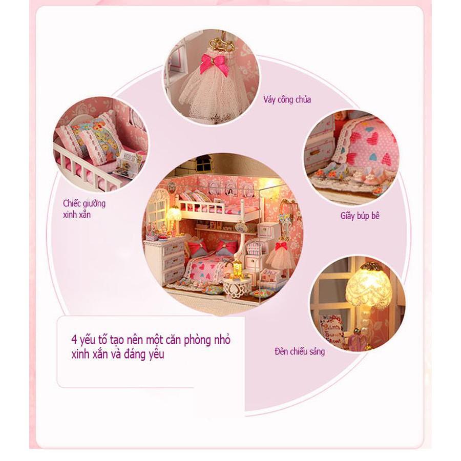 Mô HÌnh Nhà Búp Bê DIY - Căn Phòng Búp Bê Hồng
