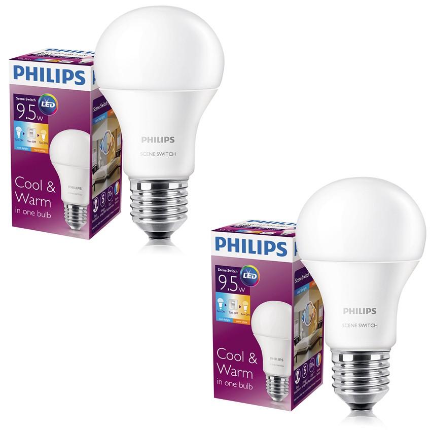 Bộ 2 bóng đèn Philips LED Scene Switch 9.5W 3000K/6500K