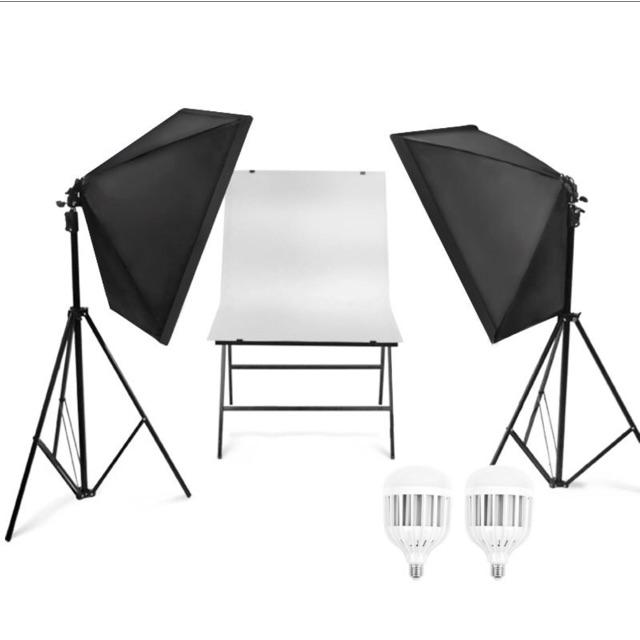Bộ đèn studio kèm softbox 50x70 có chân đèn, hỗ trợ hắt sáng chụp ảnh sản phẩm