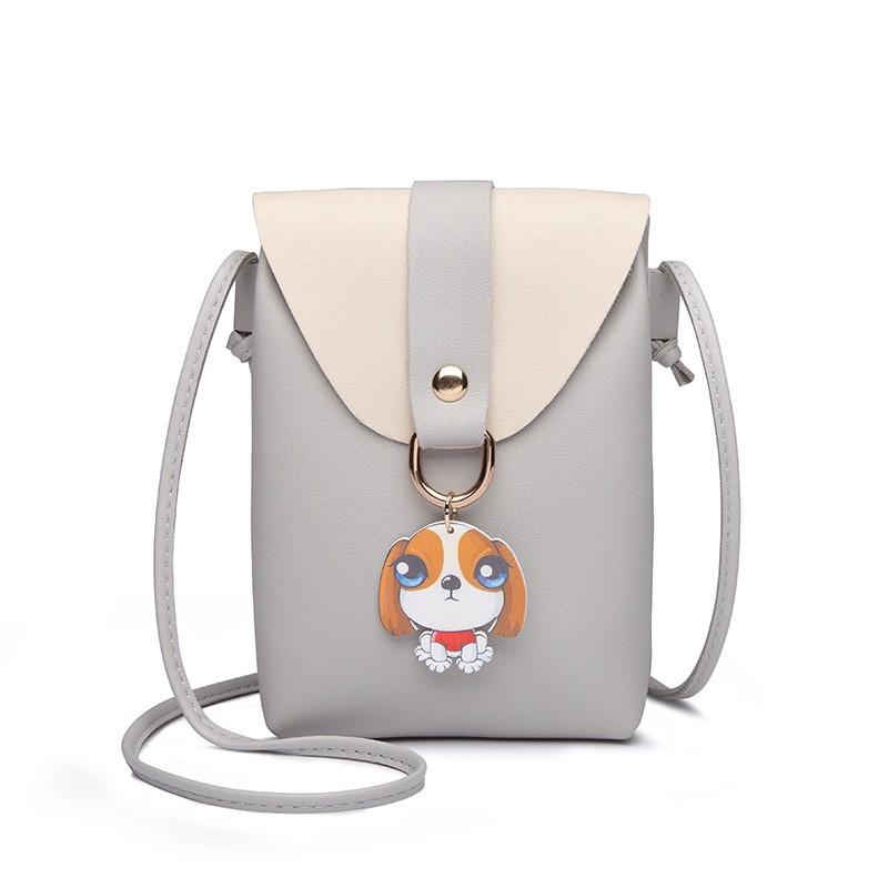 Lovely Dog Pendant Mini Square Bag PU Leather Sling Bags