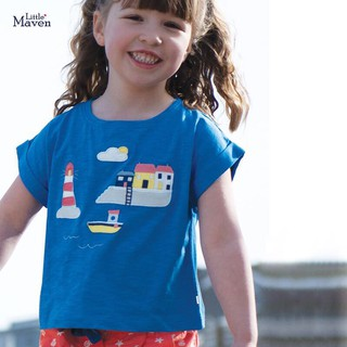 Áo thun bé gái áo bé gái cộc tay Little Maven xanh biển thuyền chính hãng - Misolkids by huong274