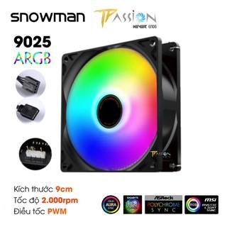 Quạt tản nhiệt Fan case 9cm Cooler Snowman 9025 ARGB – Tốc cao 2000rpm, 4Pin điều tốc PWM, quay êm, hiệu ứng LED Rainbow