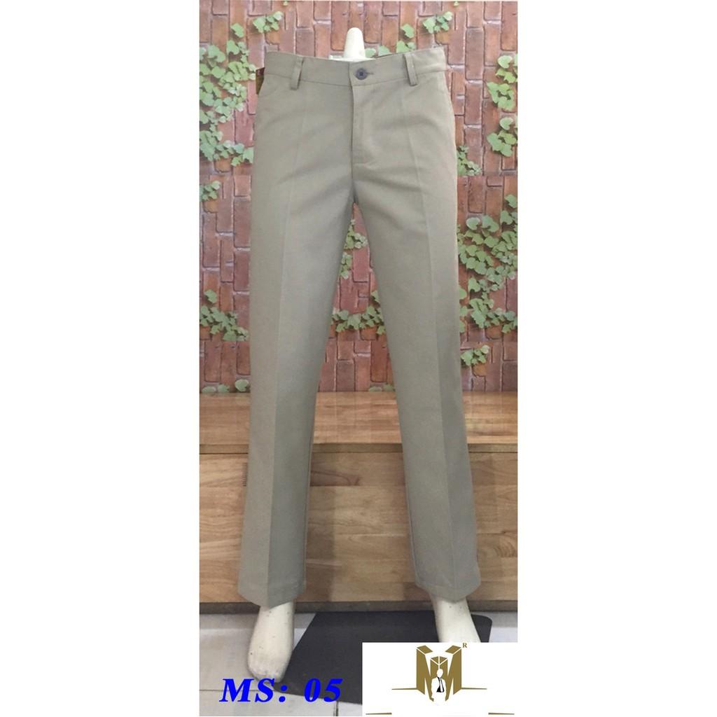quần kaki trung niên ống rộng ms05 màu kem