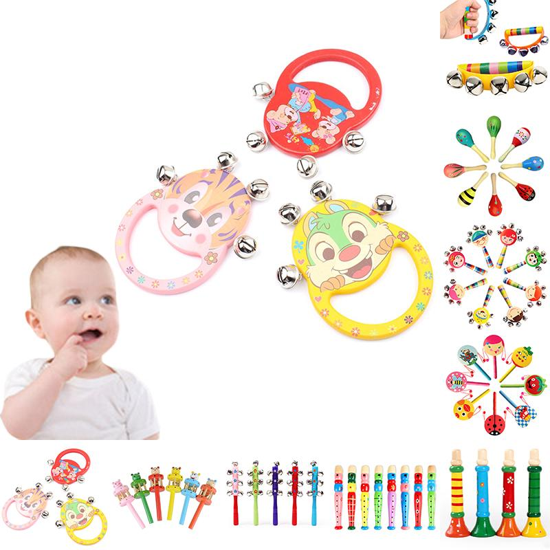 Toddler Cartoon Infant Baby Wooden Rattle Handbell Colorful Sound Toy Gift